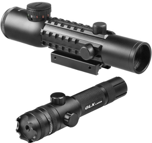 Best Deals! 4x28 IR Electro Sight Multi-Rail Green Laser Combo