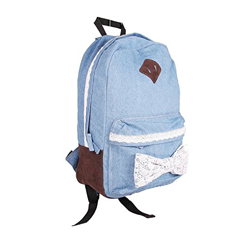 Lowest Price! Eforstore Cute Bow Vintage Lace Jeans Backpack Bag Tote Handbag Campus College Schoolb...