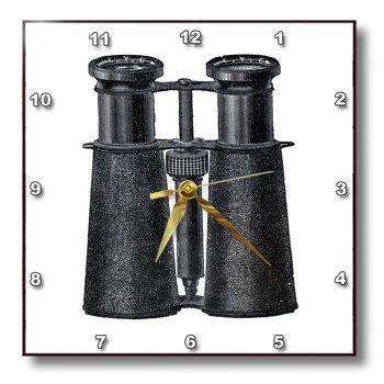 Dpp_174144_3 Florene - Vintage Ii - Image Of Antique Binoculars In Black - Wall Clocks - 15X15 Wall Clock