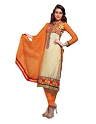 KING SALES FANCY LATEST BEAUTIFUL ORANGE AND CREAM HEAVY COTTON STRAIGHT CUT SUIT