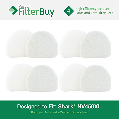 4 - Shark NV480 & NV450 Replacement Foam & Felt Filter Kits, Part #XFF450. Designed by FilterBuy to fit Shark Rocket Professional Upright NV480 Vacuums (Shark Rocket Filter Nv480 compare prices)