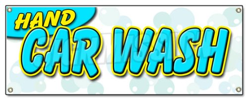 HAND CAR WASH BANNER SIGN detail wax car wash clean auto service (Detail Shampooer compare prices)