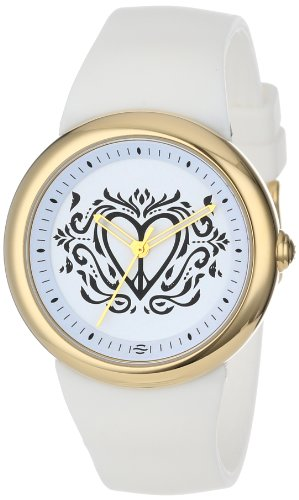 PeaceLove Unisex F36G-PL-W  Round Gold Tone White Silicone Strap and