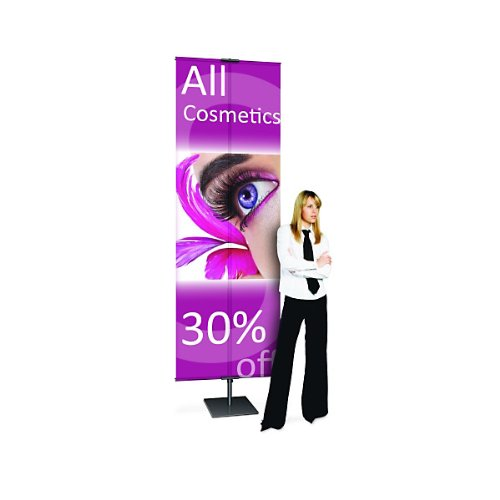 "Adjustable Classic Banner Stand - Matte Black: 42""-118"" Telescopic Height - Square Base"