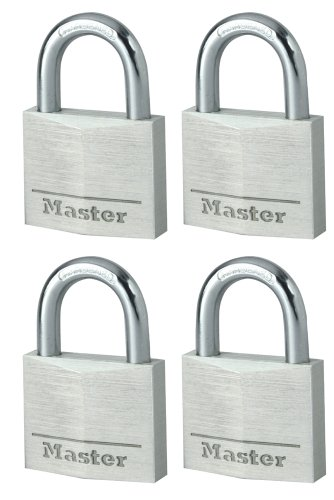 Master Lock 9140EURQNOP Set Lucchetti, Arco Acciaio 21 mm, Apertura Chiave Unica, Alluminio, 40 mm, 4 Pezzi