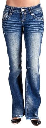 Wallflower JR Vintage Heavy Stitch   Bootcut Jean in Blue Buffalo Size: 0