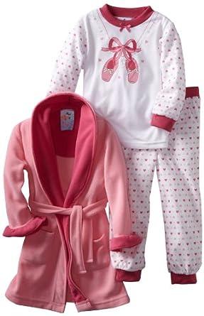 Baby Bunz Little Girls'  Ballet 3 Piece  Pajama Set, Pink, 2T