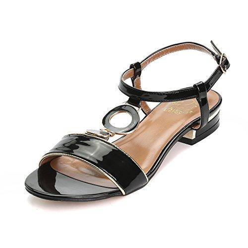 Alexis Leroy 2015 Summer Womens' Classic Buckle Design Fashion Flat Sandals Black 40 M EU / 9-9.5 B(M) US