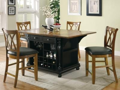 Large Scale Kitchen Island In Black And Cherry Finish front-607780