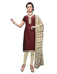 Varanga Brown Exclusive Dress Material with embroidery Fancy Dupatta KFKWB1006