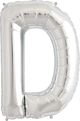 Letter D - Silver Helium Foil Balloon - 34 inch