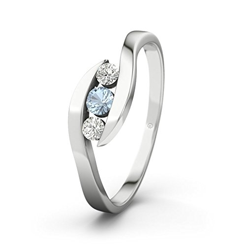 21DIAMONDS Alberta Engagement Ring Blue Topaz Diamond Pendant 9Ct White Gold Women's Ring Engagement Rings