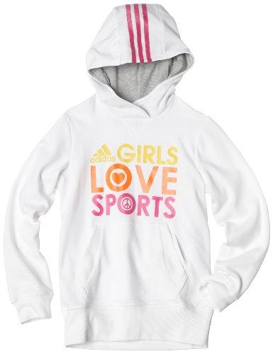 Adidas Girls 7-16 Love Sports Hoodie, White/Intense Pink, Medium