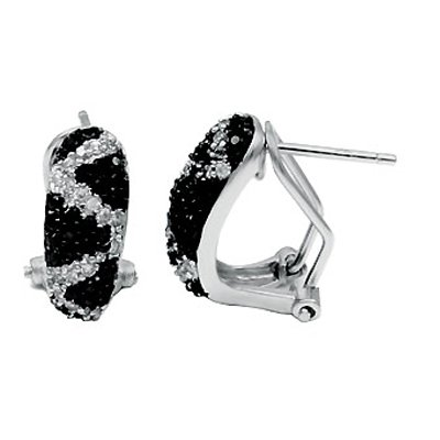 Sterling Silver Huggie Earrings, Expertly Set with Zig-Zagging Diamond-Colored Stones and Paved with High-Grade Round-Cut Black Cubic Zirconia, Top Quality Finish, Comes with a Free Special Gift Pouch, Special Discounted Price