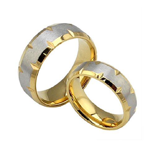ROWAG Gold Plated 8MM Mens Titanium Stainless Steel Couple Wedding Rings for Him and Her 6MM Womens Valentines Day Promise Engagement Bands