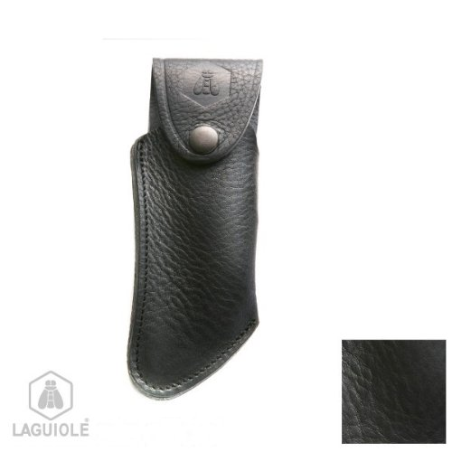 Laguiole Grained Black Leather Case With Inlaid Logo - Curved. It Can Be Attached To A Belt