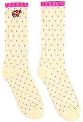 Odd Future Logo Socks (Yellow/Pink Dots) Polka Dots OFWGKTA Donut Golf Wang