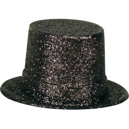 Black Glitter Top Hat - 1