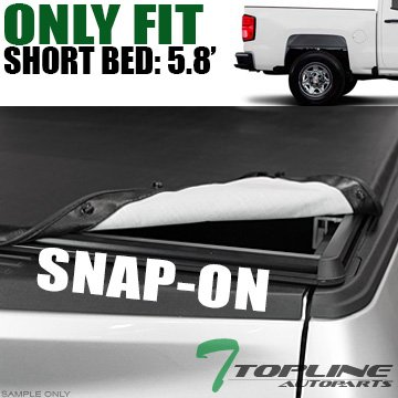 Topline Autopart Snap-On Tonneau Cover 14/15+ Chevy Silverado/Gmc Sierra Truck 5.8 Ft Short Bed (2014 Silverado Cargo Hooks compare prices)
