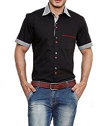 Dazzio Men's Slim Fit Cotton Casual Shirt (DZSH0914_Black_40)