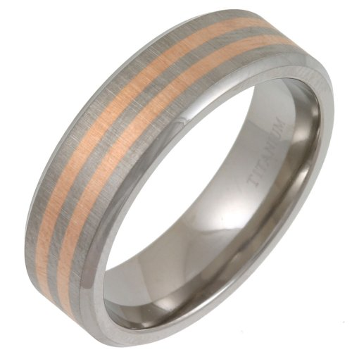 Gents' Titanium Matte 7mm  &  Twin Striped 9ct Rose Gold Inlay Ring - Size Y