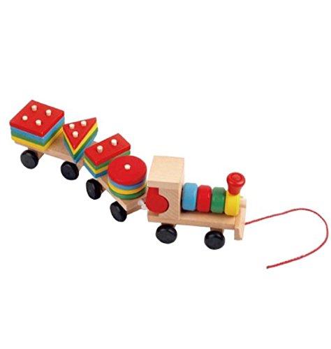 Kids Baby Developmental Toys Wooden Train Truck Set Geometric Blocks ,KESEE