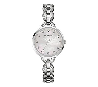 Bulova Women's Stainless Steel Facets Watch with Mother-of-Pearl Dial