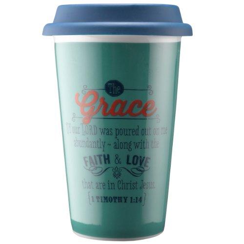 "Retro Blessings ""Grace"" Ceramic Travel Mug - 1 Timothy 1:14"