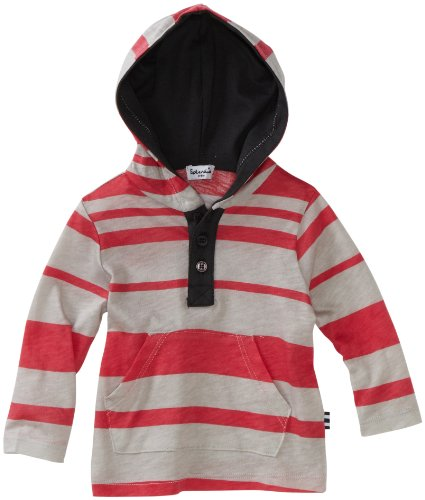 Splendid Littles Baby-boys Infant Maritime Stripe Hoodie, Red Canyon/Grey, 6-12 Months