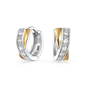 Bling Jewelry Gold Plated Sterling Silver Two Toned CZ Crossover X Huggie Hoop Earrings