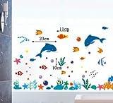 【 3枚 セット 】 水族館 海底 の 仲間たち 2枚 + オシャレ な 英字 ステッカー 1枚 セット お子様 と 一緒 に 貼れる シール タイプ ウォールステッカー イルカ イソギンチャク 熱帯魚 ニモ クマノミ 珊瑚 ヒトデ 蟹 海藻 バブル カラフル (ブルー)