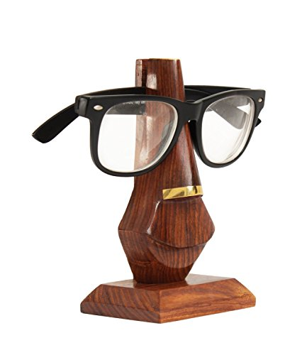 """Fathers Day Gifts 5"""" Unique Wooden Eyeglass Spectacle Holder Stand with Brass Inlay Ideas"""