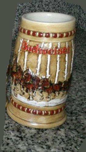 1981 budweiser holiday beer stein mug snowy woodlands cs 50 - Budweiser Christmas Steins