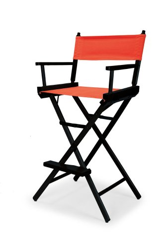 Telescope Casual Heritage Bar Height Director Chair, Orange with Black Frame