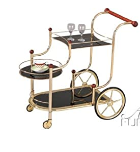 Mace Gold Plated W black Tempered Glass Serving Cart Set by HP
