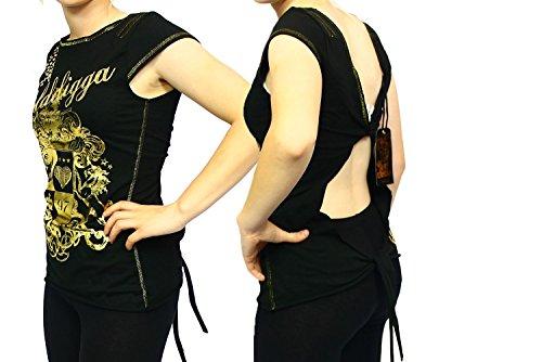 Black / Gold short sleeve open back Golddigga top