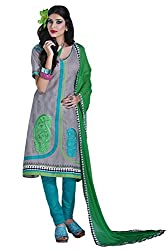 Cenizas Women Chiffon Dress Material Dress Material (Ashn612 _Grey _Free Size)