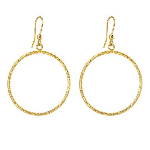14k White Gold Diamond-Cut Oval Hoop Earrings with Shepherd/'s Hook