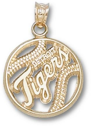 Detroit Tigers Pierced Tigers Baseball Pendant - 14KT Gold Jewelry by Logo Art