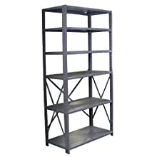 Borroughs CO6-36187 Steel RTA Open Type 6-Shelf Back Room Storage Unit, 400 lbs Capacity, 36&#034; Width x 7&#039; Height x 18&#034; Depth, Gray