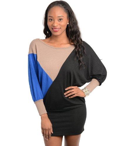 2Luv Women'S Geo Color Block Sweater Tunic Black S(M8106)