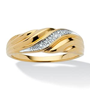 PalmBeach Jewelry Men's Diamond Accent 18k Yellow Gold Over Sterling Silver Swirled Wedding Ring