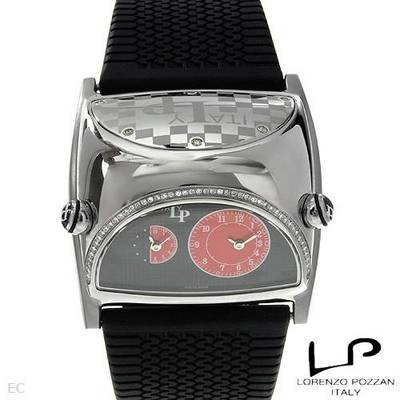 LP ITALY Men's Lorenzo Pozzan Swiss STRATOSPHERE Diamond Dual Time Strap Watch. 6311.30.361