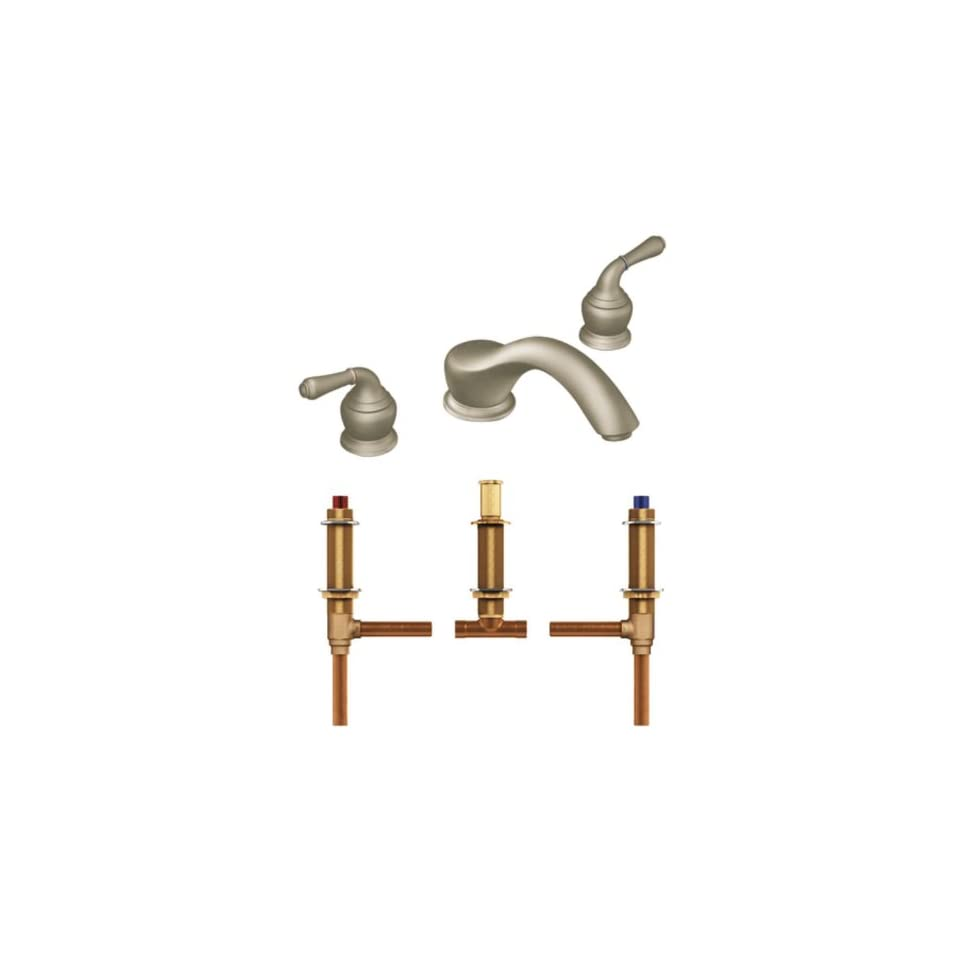 Chrome and Polished Brass Moen T951CP-4792 Monticello Two-Handle Low Arc Roman Tub Faucet with Valve