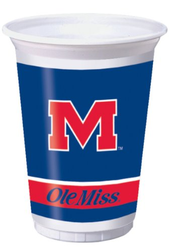 Creative Converting University of Mississippi Rebels Printed 20 Oz. Plastic Cups (8 Count) - 1