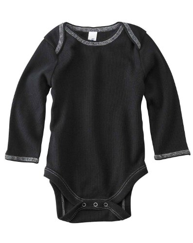 Bella Baby Long Sleeve Thermal One Piece Bodysuit. 103 - 3/6 Months - Black / Grey front-1007526