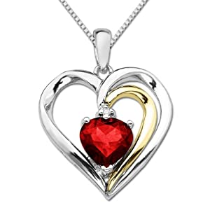XPY Sterling Silver and 14k Gold Ruby Heart Pendant Necklace, 18