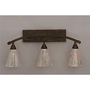 "Bow 3 Light Bath Vanity Light Finish: Bronze, Shade: 5.5"" Italian Ice Glass"