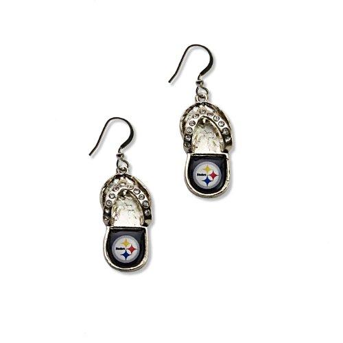 NFL Pittsburgh Steelers Flip Flop Crystal Earrings at SteelerMania