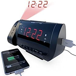 Rated Best Alarm Clock Radio With Time Projection, USB Charger For smartphones and tablets, Large LED Digital Display, Battery Back Up and Dual Alarm For Heavy Sleepers